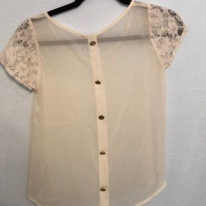 Lush Tops - Cream Lush crop top with lace sleeves